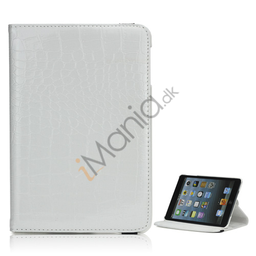 Image of   Croco 360 Rotation Læder Stand Case Cover til iPad Mini med elastisk lukning - Hvid