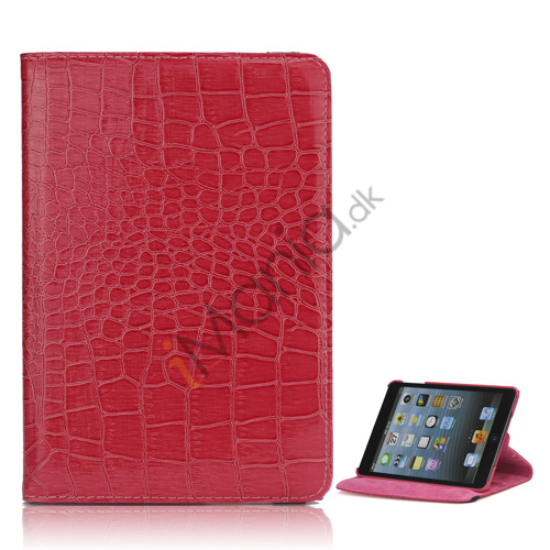 Image of   Croco 360 Rotation Læder Stand Case Cover til iPad Mini med elastisk lukning - Rose