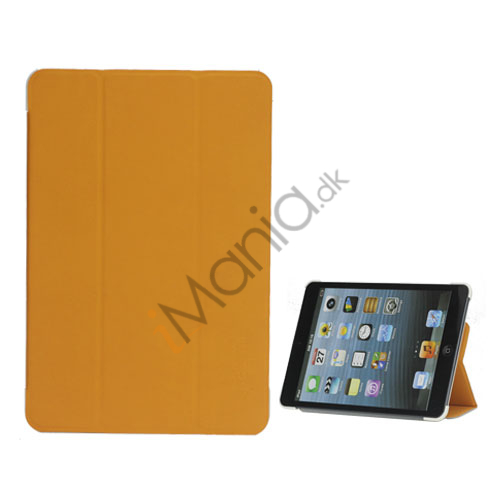 Smart Varmeafgivelse Design Folio Læder Stand Case til iPad Mini - Hvid / Orange