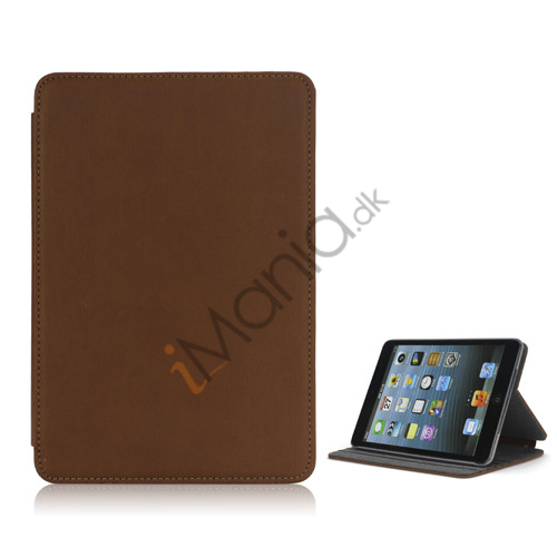 Image of   Book Style tandstikker Design Læder Stand Case til iPad Mini - Brun