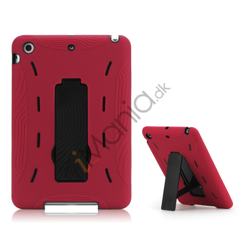 Image of   2 i 1 Build-in Stand Silikone og plast Assembly Case Cover til iPad Mini - Sort / Rød