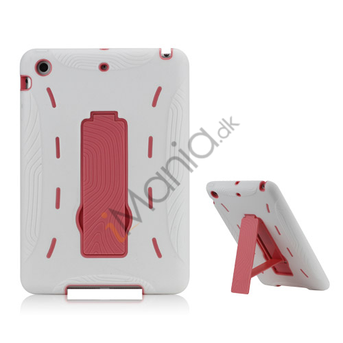 Image of   2 i 1 Build-in Stand Silikone og plast Assembly Case Cover til iPad Mini - Pink / Hvid