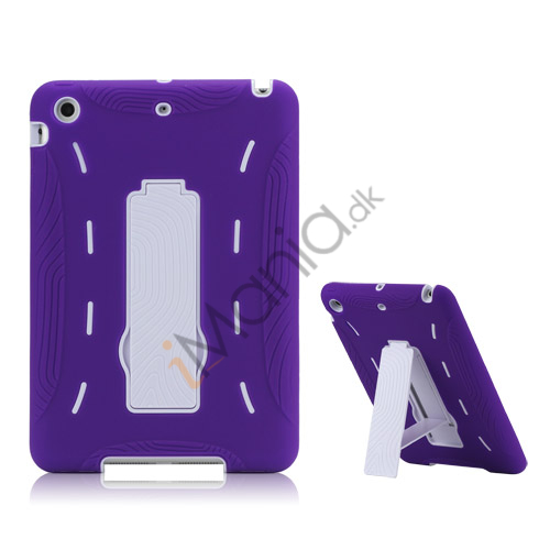 Image of   2 i 1 Build-in Stand Silikone og plast Assembly Case Cover til iPad Mini - Hvid / Lilla