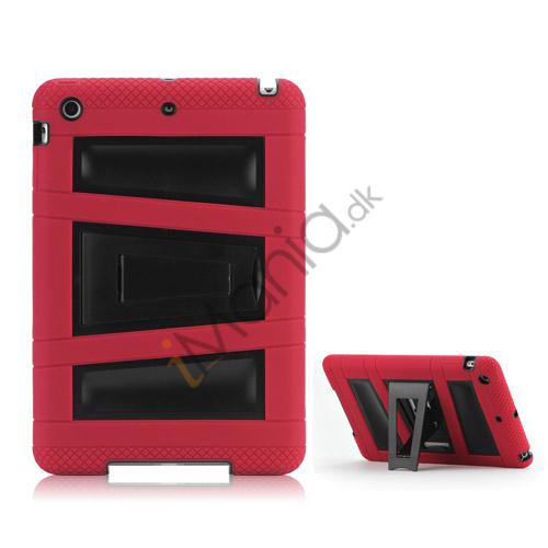 Billede af Trapez Mønster Plastic  and  Silicone ArmoRød Combo Taske med Stand til iPad Mini - Sort / Rød