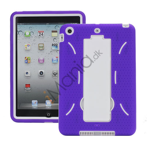 Rugged Samlet Silicone  and  Plastic Combo Case med Stand til iPad Mini - Hvid / Lilla