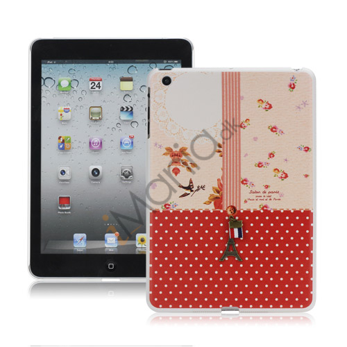 Image of   3D Eiffel Tower Rød Polka Dots Hard Case Cover til iPad Mini
