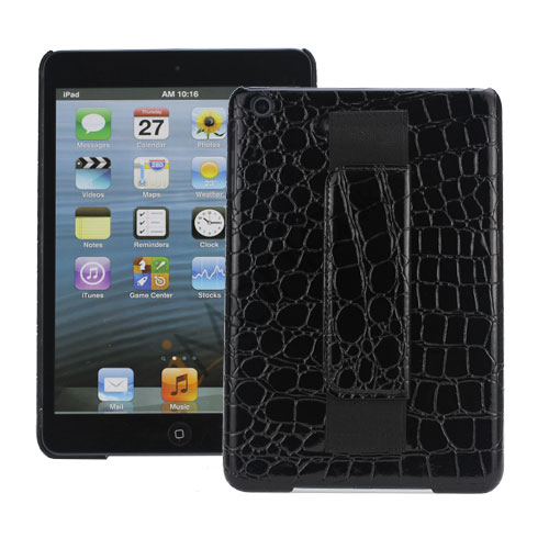 Image of   Crocodile Leather Belagt med Convenient handstrap Hard Back Case til iPad Mini - Sort
