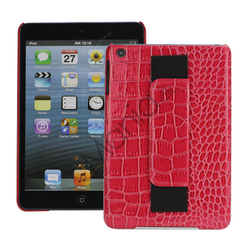 Image of   Crocodile Leather Belagt med Convenient handstrap Hard Back Case til iPad Mini - Rød