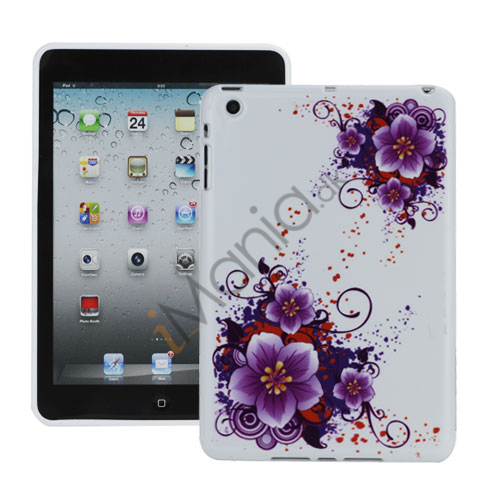 Glamorous Lilla Flowers TPU Gel Cover Case til iPad Mini