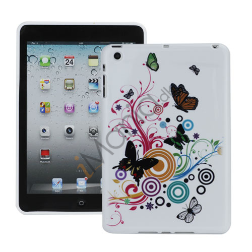 Image of   Colorized Butterflies Floral Pattern TPU Gel Cover til iPad Mini