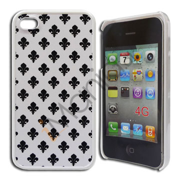 Image of   iPhone 4 / 4S cover, hvidt med sort mønster