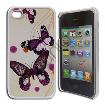 Image of   iPhone 4 / 4S cover med lilla sommerfugle