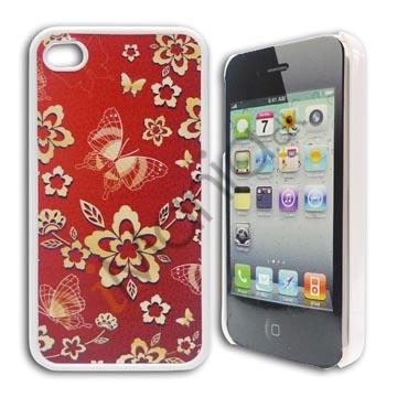 Image of   iPhone 4 / 4S cover - Med sommerfugle og blomster, rødt