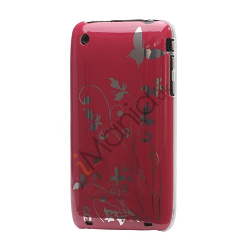 iPhone 3GS cover Lakeret og med sommerfugle, rød