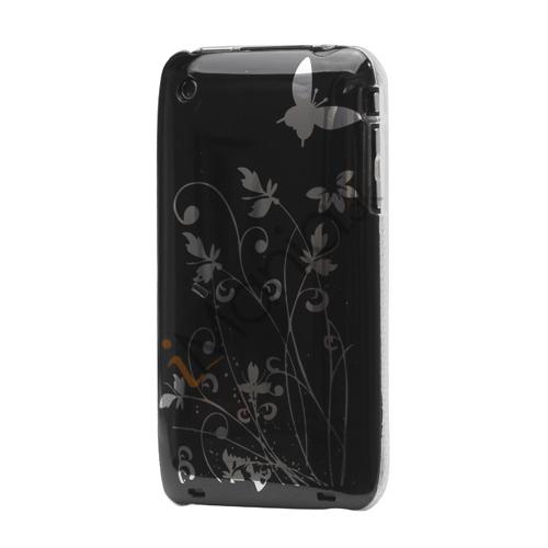 iPhone 3GS cover Lakeret og med sommerfugle, sort
