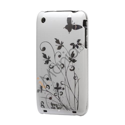 iPhone 3GS cover Lakeret og med sommerfugle, hvid