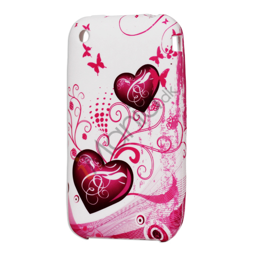 iPhone 3G 3GS TPU luxus cover med to hjerter