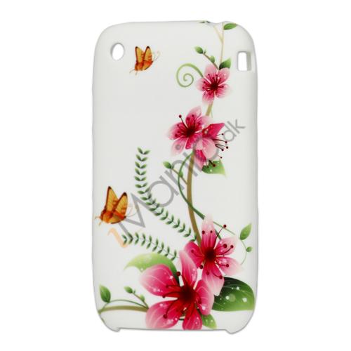iPhone 3G 3GS TPU luxus cover med lyserøde blomster og sommerfug