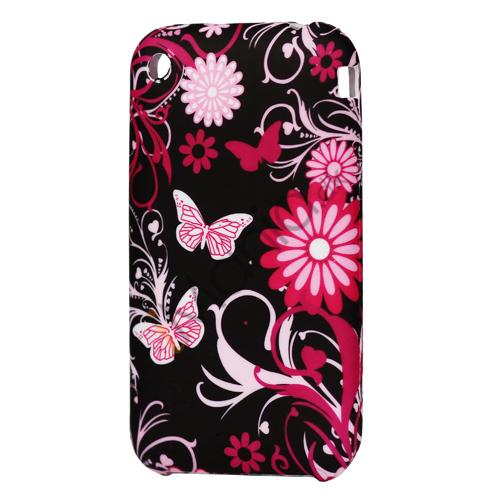 iPhone 3G 3GS TPU luxus cover, sort med lyserødt mønster og blom