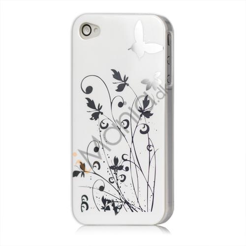 Image of   iPhone 4 cover Lakeret og med sommerfugle, hvid
