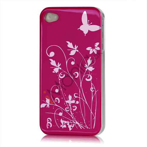 Image of   iPhone 4 cover Lakeret og med sommerfugle, pink