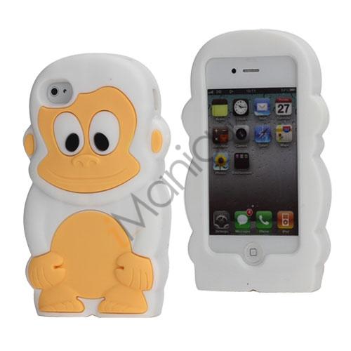 Image of   3D iPhone 4 cover med sød abe i silikone, hvid
