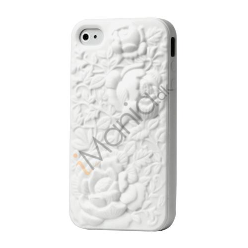 Image of   3D Cover til 4 / 4S i silikone med blomsterudskæringer