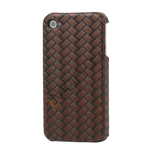 Image of   iPhone 4 cover med vævet mønster, chokoladebrun