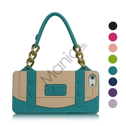 Blød Mode Silikone Case Cover Skin Håndtaske med Kæde til iPhone 5