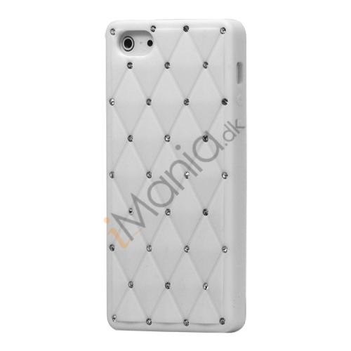 Glitter Smykkesten Indlagt Silikone Cover Case til iPhone 5 - Hvid