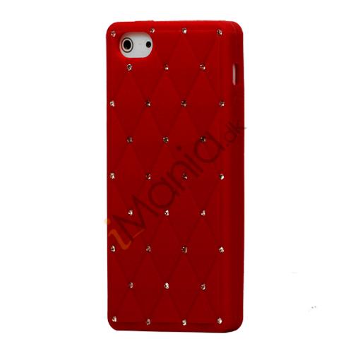 Glitter Smykkesten Indlagt Silikone Cover Case til iPhone 5 - Rød