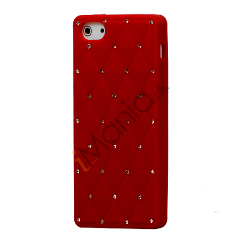 Image of   Glitter Smykkesten Indlagt Silikone Cover Case til iPhone 5 - Rød