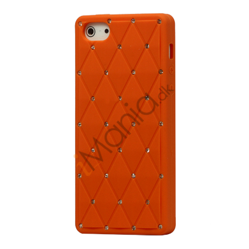 Glitter Smykkesten Indlagt Silikone Cover Case til iPhone 5 - Orange
