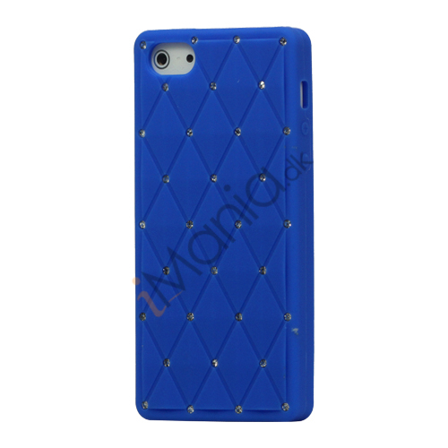Glitter Smykkesten Indlagt Silikone Cover Case til iPhone 5 - Mørkeblå