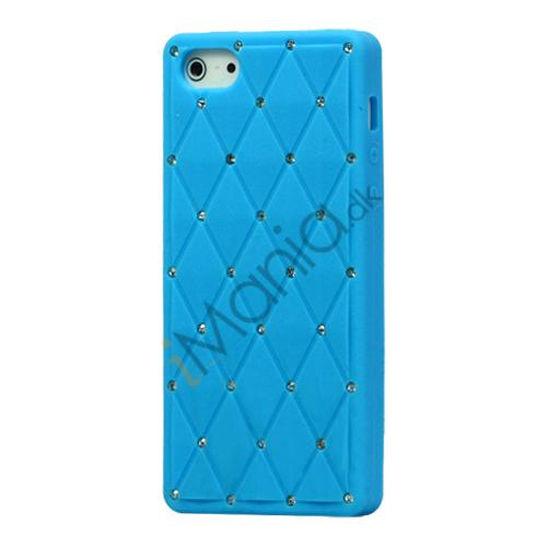 Glitter Smykkesten Indlagt Silikone Cover Case til iPhone 5 - Baby Blå