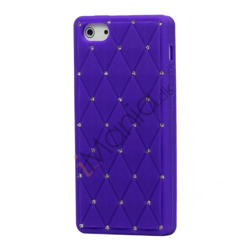 Glitter Smykkesten Indlagt Silikone Cover Case til iPhone 5 - Lilla