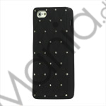 Glitrende Smykkesten Inlaid Silikone Cover Case til iPhone 5 - Sort