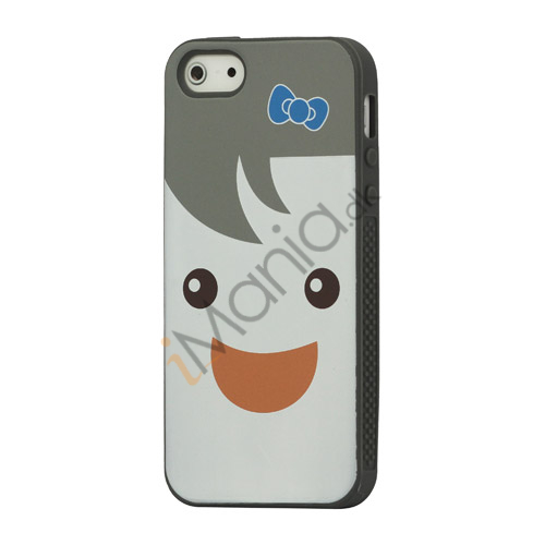 Image of   Blød Smilende Dukke Silikone Case iPhone 5 cover - Grå
