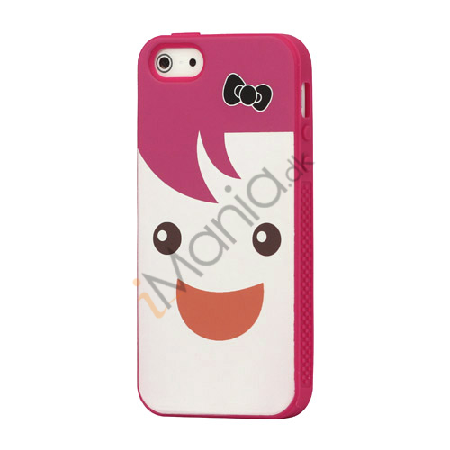 Billede af Blød Smilende Dukke iPhone 5 Silikone Taske Cover - Rose