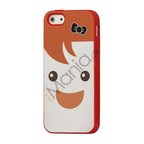 Image of   Blød Smilende Dukke Silicon Case iPhone 5 cover - Orange / Rød