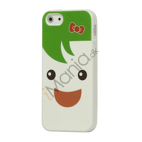 Image of   Blød Smilende Dukke Silikone Case iPhone 5 cover - Grøn / Hvid