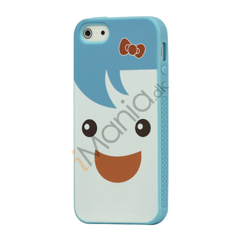 Image of   Blød Smilende Dukke Silikone Case iPhone 5 cover - Baby Blå