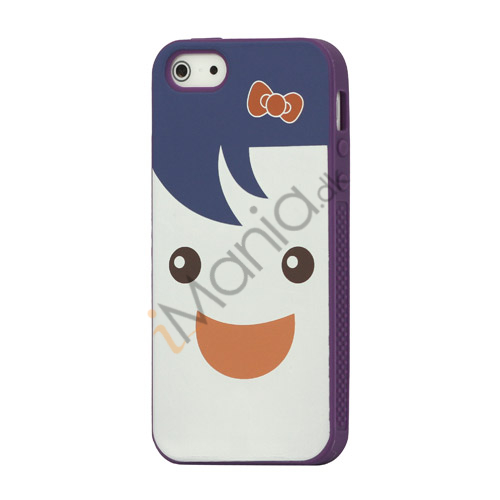 Image of   Blød Smilende Dukke Silikone Case Shell iPhone 5 cover - Lilla