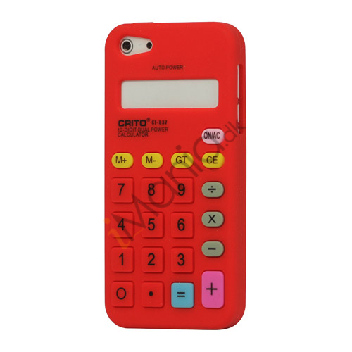 Image of   3D Lommeregner Silikone Cover Case til iPhone 5 - Red