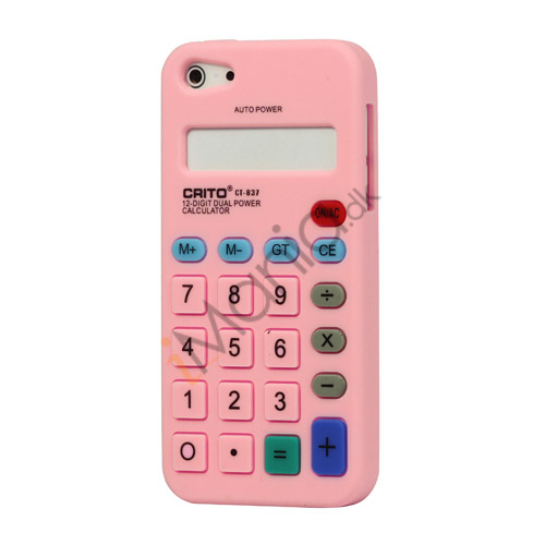 3D Lommeregner Silikone Cover Case til iPhone 5 - Pink