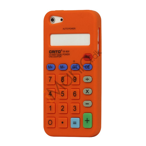 Image of   3D Lommeregner Silikone Cover Case til iPhone 5 - Orange