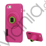 Image of   3D-kamera Blød Silikone Stand Case iPhone 5 cover - Rose