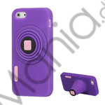 3D-kamera Blød Silikone Stand Case iPhone 5 cover - Lilla