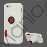 3D Camera Soft Silikone Stand Case iPhone 5 cover - Hvid