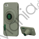 Image of   3D Camera Soft Silikone Stand Case iPhone 5 cover - Grå